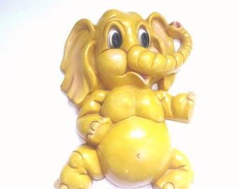1973 Homco Elephant Plaque  - Zoo - Yellow