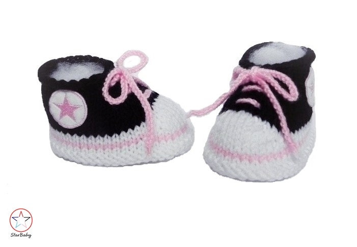 Baby Booties Converse style Trainers Black and Pink Booties