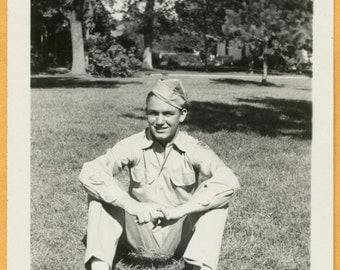 Original Vintage Snapshot Found Photo Vernacular Photo 1940s Handsome Cute Military Man Sitting on Ground -A994