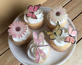 Butterfly, Butterflies, Flowers, Dragonfly, Cupcake Toppers, Cake Toppers, Wafer Paper, Food Safe, FLAT not 3D, Read Item Details>