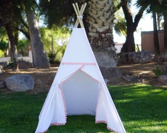 Color Pompom White canvas kids teepee/canvas Play tent / Tipi with overlapping front doors
