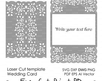 "Roses Lace crochet doily Wedding invitation 5x7"" Rustic Pattern Card Template (svg, dxf, dwg, ai, eps, png, pdf) laser cut Silhouette Cameo"