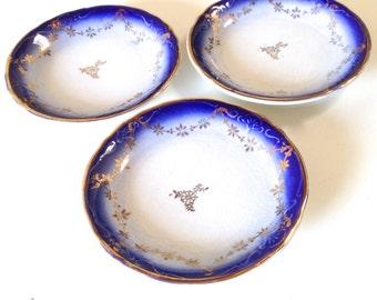 Flow Blue Butter Pat - Plate - Set Of Tree - Cobalt Blue - Gold