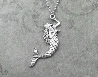 Mermaid Necklace LARGE Mermaid Jewelry Mermaid Pendant Necklace Fantasy Necklace Siren Necklace Fantasy Jewelry Mermaid Gift Charm Necklace
