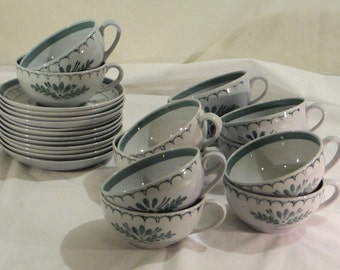 Full Set - Vintage Un-Used Green Thistle by Arabia of Finland -- 12 Cups and 12 Saucers