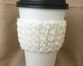 White with Sparkles Handmade Crochet Coffee Cup Cozy