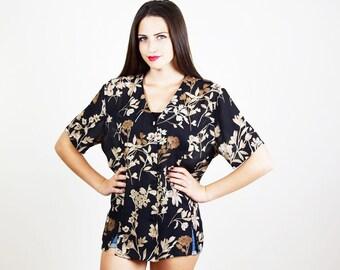 SHEER FLORAL SHIRT, Floral top, black floral kimono , button shirt, grandma granny shirt, vintage blouse, retro, boho chic, size L xl