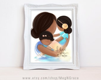 Mother Daughter Girl's Room Decor Art - Dark Complexion, Dark Brunette - Black Hair - Mother's Day Gift - Sisters Wall Art