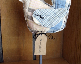 "Vintage Quilt Chicken on a Stand - Farmhouse Chicken Decor - Country Chicken Decor ""Cluck B"""