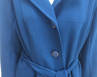Womens vintage 1970's coat. Blue.(UK size 14)