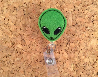 Badge Reel | Felt ALIEN ID Badge Reel | Halloween Lanyard | Retractable Name Holder | Nurse Gift Teacher | 921