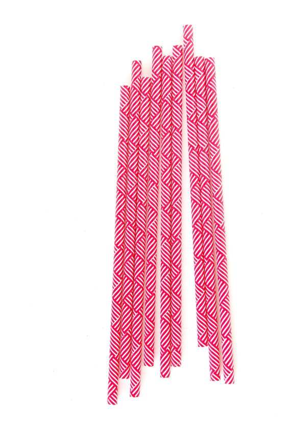 CLOSEOUT SALE Red and White Criss-Cross Stripe Straws 15 Count
