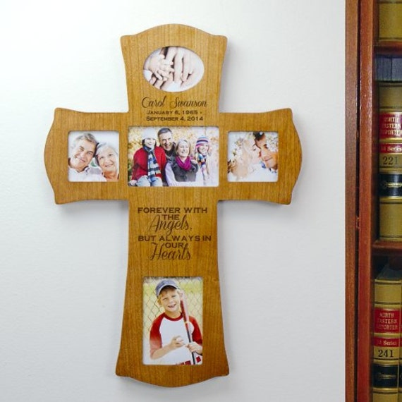 engraved wooden photo memorial cross personalized memorial frame engraved memorial cross