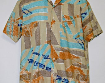 Kennington California Hawaiian Shirt, Aloha Shirt, French Words, Patchwork, Tropical, Men's Size Medium, Surfer, Casual Wear, Kitsch, Party