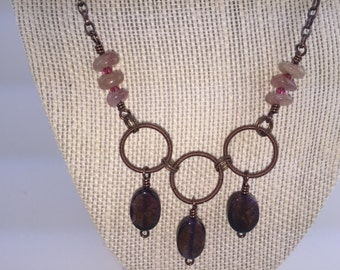 Wire Wrapped Rings Necklace & Earring Set