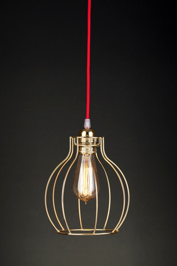 Pendant Light Bulb Wiring : Wire pendant lamp modern cage gold shade with