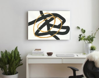 orange Black and white, Large Abstract , Hand Made Acrylic Painting Minimalist Art, Abstract Painting Canvas Modern Contemporary wall art