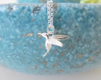 Sterling silver hummingbird necklace, hummingbird necklace, bird necklace
