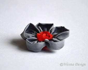 Gray Rose Brooch