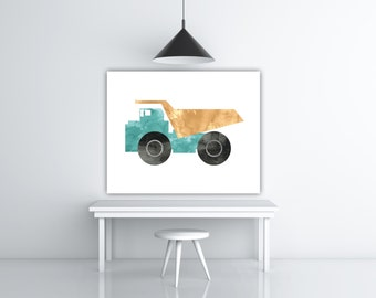 Dump Truck Decor, Gift For Kids Room Wall Art, Watercolor Nursery Boy Room Decorations, Truck Nursery Print, Truck Art, Truck Print