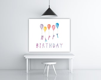 Watercolor Printable Birthday Present, Colorful Prints, Her Birthday Card Friend Birthday Gift Ideas For Her, Happy Birthday Print