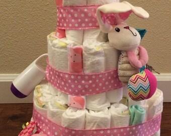Custom Baby Diaper Cake for Baby Girl
