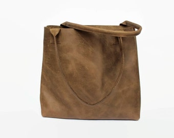 large brown distressed leather tote bag, leather tote, leather bag, raw leather tote bag