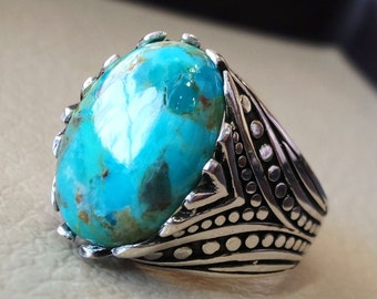 Natural Arizona turquoise highest quality huge men ring sterling silver 925  blue color stone all sizes jewelry fast shipping ottoman style