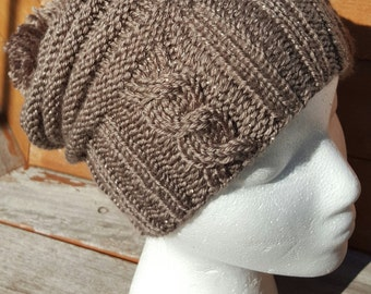 Brown knit hat / Winter knit hat / Brown slouchy hat / Winter hat Shimmer slouchy hat / Sparkle knit hat / Pom pom beanie