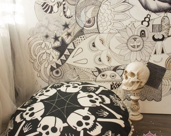 Pouf Floor Cushion Cover Floor Pillow Seat Cusion Pouffe Pouf Seating Sugar Skull Home Decor FILLER NOT INCLUDED