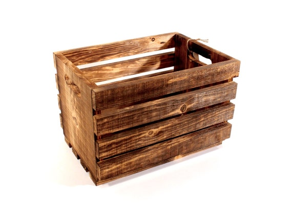 Handmade Classic Wood Crate with Handles --- Flintface Woodshop