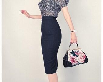 High waist pencil skirt, under knee length