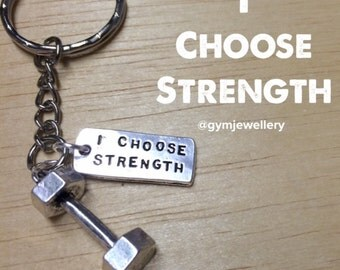 I choose strength fitness dumbbell keyring keychain necklace weight lift gym quote fitness jewellery fitness jewelry dumbbell keychain