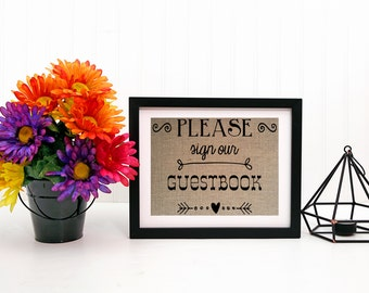 Please sign our guestbook sign, wedding reception signs, burlap