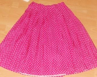Polka dot pink Vintage high waisted skirt UK M