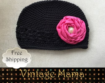 Baby Girl Beanie Hat Cotton - Black with Pink Pearl Flower