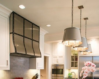 """The """"PHILIP"""" - Stainless with black strapping range hood shell"""