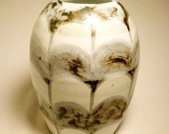 Large Patterned Black and White Vase