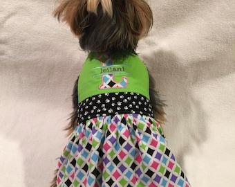 Custom Monogram Dog Dress / Custom Monogram Pet Dress / Monogram Dog Dress / Monogram Pet Dress / Custom Monogram Dog Harness Dress