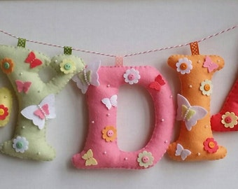 Name sign, name plague, personalised bunting, mini bunting, wall decor, nursery decor, kids room decor, keepsake, personalised gift