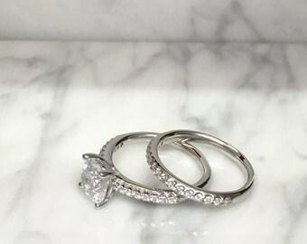 Round Diamond Engagement Ring Bridal Set - 14K White Gold - Setting Only - Wedding Set - Affordable Rings - Half Eternity Matching Band