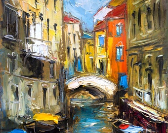 Venice painting, Giclee canvas print, Oil painting print, Italy Cityscape painting, Modern artwork, Canvas wall art, Colorful Wall decor