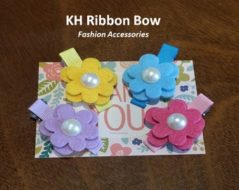 Set 2 PCS - Felt Flowers with Pearl Center Alligator Hair Clip Hair Accessories- Great for Party Favors