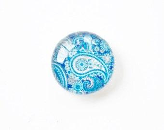 Cabochon rond en verre motif cachemire 14mm