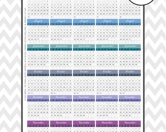 Weekly Calendars HORIZONTAL 2016 Planners |Printable Stickers | Perfect for Horizontal Erin Condren Planners
