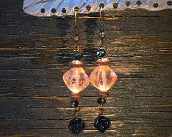 Beaded Dangle Earrings, Vintage Beads