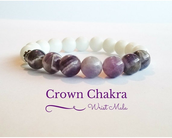 Amethyst Bracelet Crown Chakra Wrist Mala Beads by Maryolla