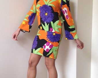 Vtg Bold Floral Print Dress - Tunic Top