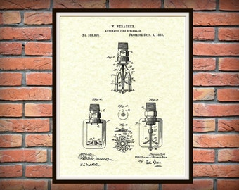 Patent 1888 Fire Sprinkler - Art Print - Poster - Fire House Wall Art - Fire Fighter - Automatic Water SprinklerPatent - Fire Safety