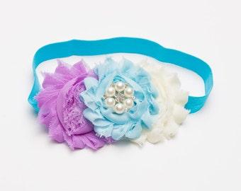 Blue, purple and white elastic headband,  Baby Girl Headband, Trio On A Stretch Headband, Infant Headband, Cake Smash Headband, Photo Prop